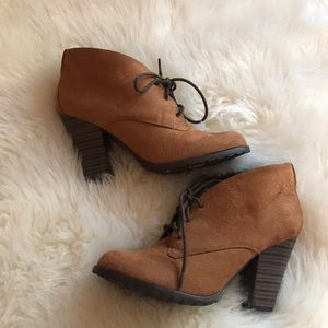 Tan suede lace up booties